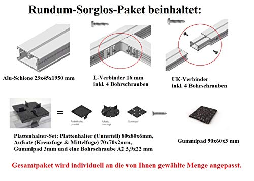 Gartenwelt Riegelsberger Premium Aluminium Montagesystem-Set für Keramik-, Stein-, Betonplatten Komplett-Set Made IN Germany Höhe: 3,5 cm Fläche 5 m² Plattenformat 60x60 cm