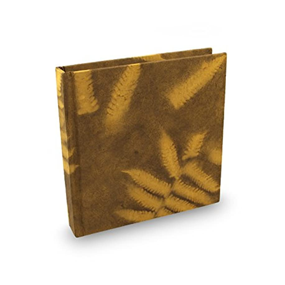 Eight Rivers Eco Fern Leaf Journal with Handmade Lokta Paper. 6x6 Inches. Made in Nepal. (Goldenrod)