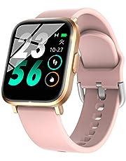 スマートウォッチ スポーツウォッチ 萬歩計「2020最新版IP68防水?Bluetooth5.0?18種運動対応」スマートブレスレット リストバンド ストップウォッチ smart watch 著信通知 電話通知 腕時計 日本語アプリと説明書 ピンク