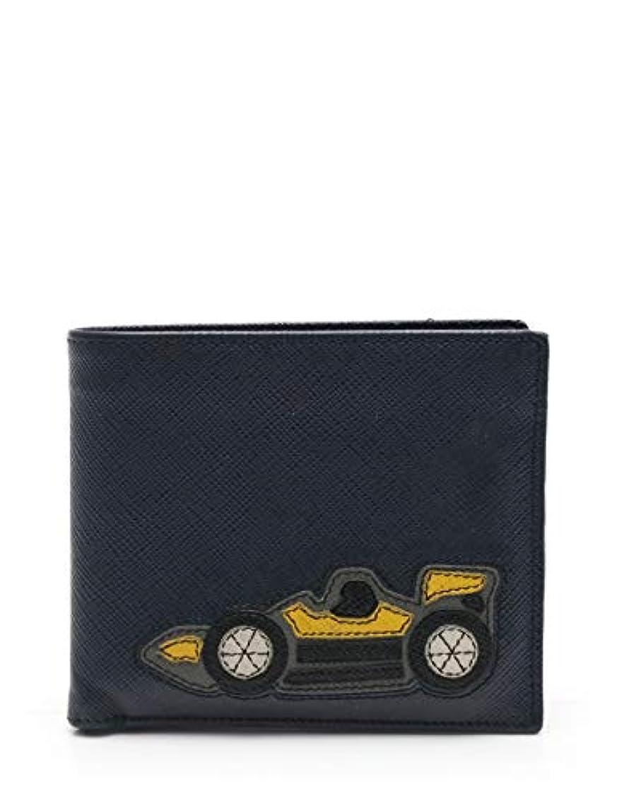 ホラーそれにもかかわらずクラック(プラダ) PRADA SAFFIANO CAR 二つ折り財布 札入れ サフィアーノレザー ダークネイビー 2MO513 中古