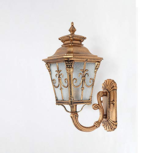 WZHZJ Lámpara de Pared LED para jardín Iluminación Exterior Lámparas de Pared Patio Exterior Apliques Exteriores de Bronce E27 Lámpara Impermeable