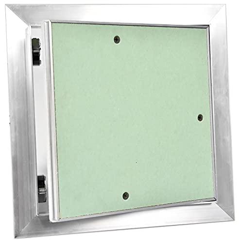 SYSTERM Universal Revisionsklappe GK-Einlage Revisionstür Revision Wartungstür Wartung Reinigungsklappe Wartungsöffnung mit Aluminium-Rahmen Feuchtraumgeeignet grün Trockenbau (15x15 - DR15/15)