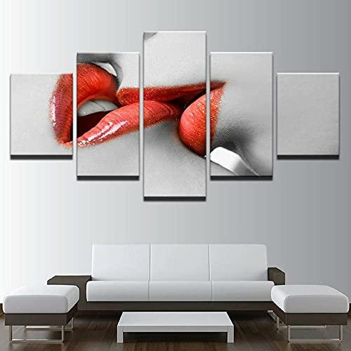 Pintura sobre Lienzo 150x80cm Besame Labios Imagen Impresión, Pintura Decoración, Diseño de la Naturaleza, 5 Piezas, con Marco.