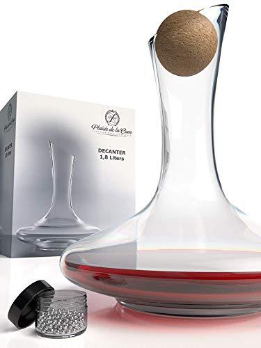 Decantador de Vino con Accesorios (Tapón de Corcho + Bolas Limpiadoras) - Jarra de Cristal 100% Sin Plomo - Oxigenador y Aireador para su Tinto - Regalo Original y Decorativo