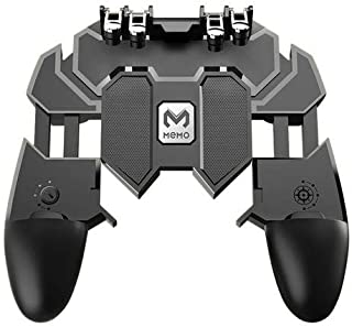 grfamily New Upgrade AK66 MEMO Mobile Game Controller for PUBG Six Finger All-in-One Mobile Phone Triggers Controller Free Fire Button Joystick Gamepad for iOS & Android Phone (Gray)