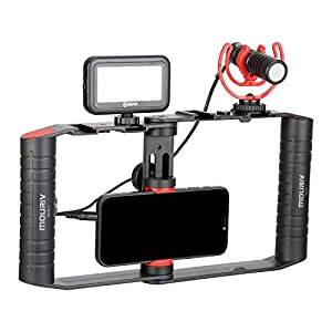 MOURIV VK-R1 Smartphone Video Rig with Shotgun Microphone Led Video Light Handheld Stabilizer for Vlogging YouTube Filmmaker Video Kit for Smartphone