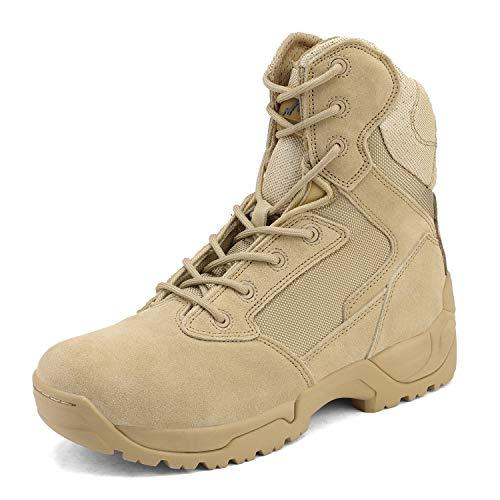 NORTIV 8 - Botas tácticas de trabajo tipo militar para hombre, para senderismo, motociclismo, combate, beige, 10.5