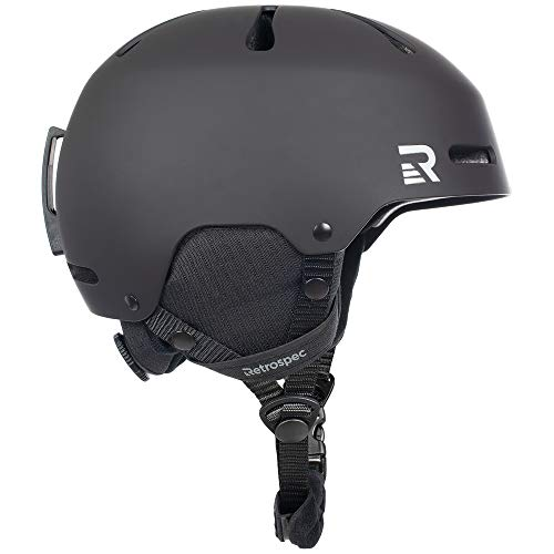 Retrospec Traverse H3 Adult Ski & Snowboard Helmet with 10 Vents; Matte Black, Large 59-62cm