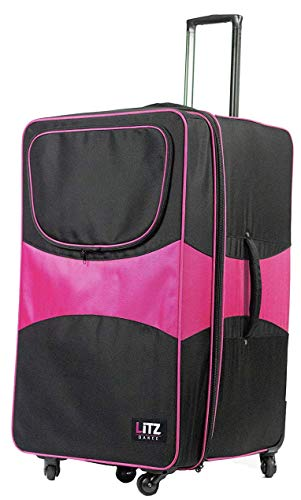 Pink And Black Suitcase - Dance Bag With Garment Rack - Rolling Garment Bag - Hanging Garment Bag - Dance Garment Bag For Costumes - Bag Rack Dance Bags - 29 In Suitcase - LITZ Competition Roller