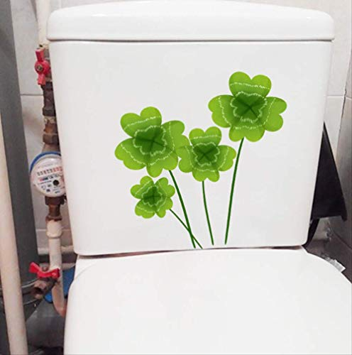 Toilet Stoel Stickers Groene Plant Blad Klaver Verse Cartoon Muursticker Wc 21.8 * 22.2Cm