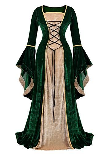 Haorugut Renaissance Costume Women Medieval Dresses Faire Costumes Velvet lace up Irish Dress Green L