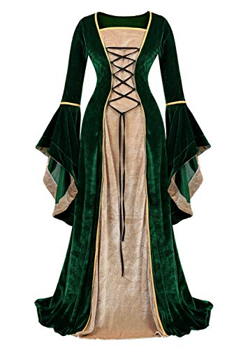 Haorugut Renaissance Costume Women Medieval Faire Costumes Velvet Irish Dress, Green, Small