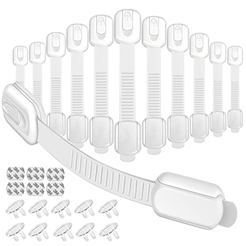 12Pack Child Safety Cabinet Locks Set Baby Proofing Strap Latches Locks(with 6pcs Spare Adhesive) Used for Safety Drawer Cupboard Oven Refrigerator Toilets Seat Fridge & 10Pcs Clear Outlet Plug Cover