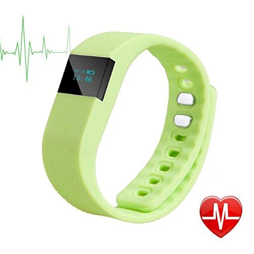 TechCommYang Fitness Tracker Damen Mit Schrittzähler Schlafüberwachung Kalorienverbrennung IP65 wasserdicht Bluetooth Anti-Lost Teilen Freunde Circle für Android und IOS - Grün