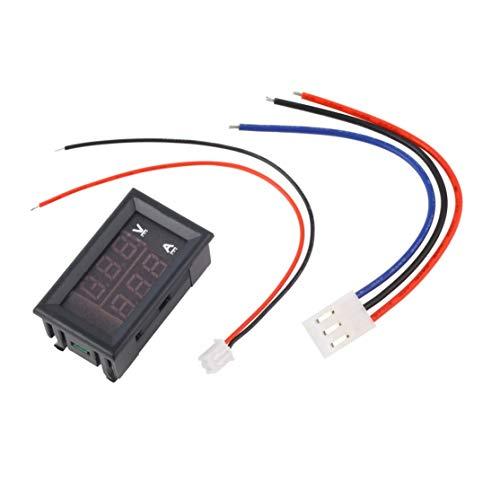 DC 100 V 10A Voltímetro Amperímetro Azul + Rojo LED Medidor de voltímetro digital Amperio Corriente de voltaje dual para uso en herramientas domésticas(Color:black)