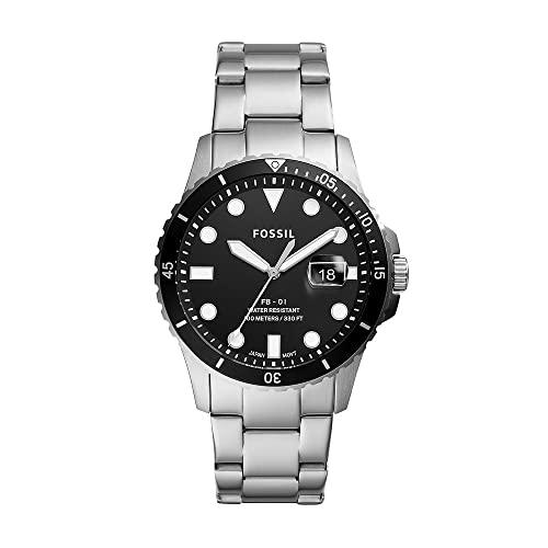 FOSSIL Reloj para Hombre FB - 01, Caja de 42 mm, Movimiento de Cuarzo, Correa de Acero Inoxidable, Negro