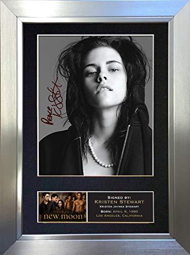 #21 Kristen Stewart Signiertes Autogramm, Passepartout, Fotodruck, Reproduktion, A4, 297 x 210 mm, Silberner Rahmen, 12 x 8 inches