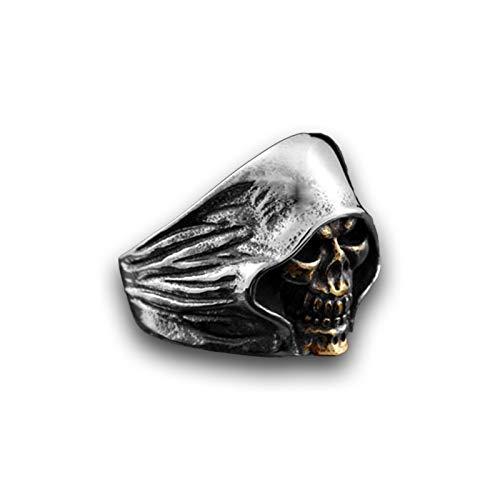 CRYPIN Anillos de joyería de Moda para Hombre, Anillo de Calavera Grim Reaper de Cara Dorada de Acero Inoxidable para Hombres, tamaño 7-13
