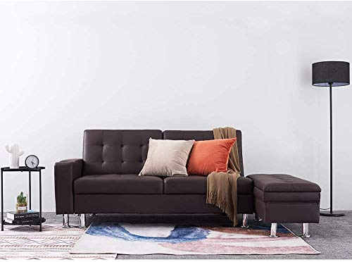 3 personas Sofá de cuero artificial Futón cama con cama de almacenamiento Banco Durmiente Durmiente puede ser convertible,Brown