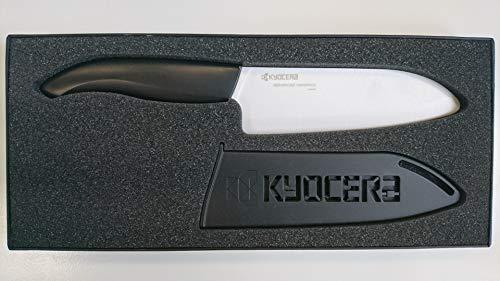 Kyocera FK-140WH GIFT BOX , Cuchillo Santoku, 14 cm con protector de hoja, hoja de cerámica de circonio afilada, afilada a mano, ligera, no corrosiva, sin transferencia de sabor, apta para lavavajilla