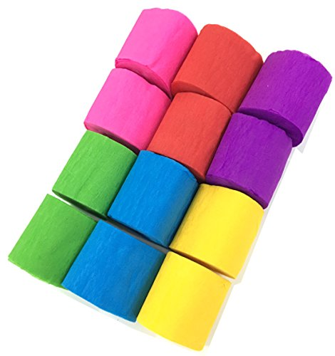 12 Rolls Party Streamer Crepe Paper Streamers 6 Colors, 1.77 Inch x 29.6 Feet