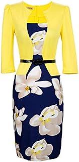Yilia Women Print Elegant Business Formal Work Dress