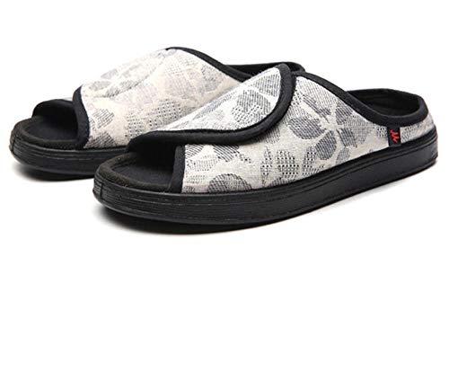 LNLJ - Zapatillas de lactancia con pies hinchados, ampliables, de tela con extensión ajustable, zapatillas de lactancia con pies hinchados y talla grande, color blanco