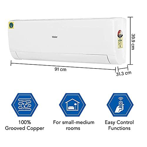 Haier 1.5 Ton 3 Star Split AC (Copper,High Density Filter, 2020 Model, HSU18T-NMW3B, White)