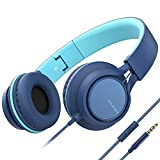 AILIHEN MS300 Auriculares con cable con micrófono plegable ligero para teléfonos móviles, tabletas, smartphones, Chromebook Ordenador portátil Zoom Skype Mp3/4 (Indigo)
