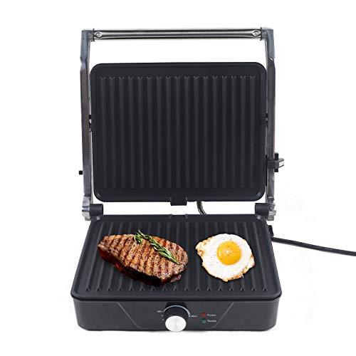 Kontaktgrill Elektrischer Tischgrill Steak Grill 2000W Sandwich Maker Mit Antihaftbeschichtung, Zeitkontrolle