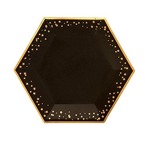 Neviti 773161 Papierteller, schwarz/gold, Large