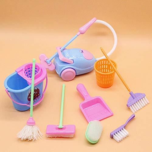Ballylelly Miniatura Trapeador Recogedor Cubo Cepillo Tareas domésticas Herramientas de limpieza Set Dollhouse Jardín Accesorios para muñecas Barbie