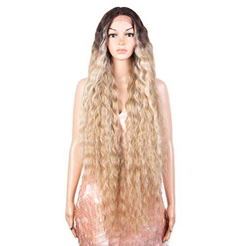 """Style Icon 41"""" Lace Front Wigs Long Wavy Synthetic Wigs with Baby Hair Half Hand Tied 130% Density Wigs (41 Inches, TTHL6/23B/613F)"""