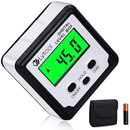 Inclinometro Digital, Lytool Buscador de Ángulo Transportador Base Medidor de Ángulos con LCD Pantalla, 0-360 ° de Nivel Digital, Base Magnética