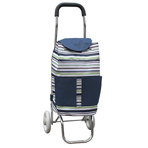 JYDQM Vagn, Aluminiumlegering 2 Hjul Shopping Släp Fällbar Vattentät Väska Randig Vagn Bagage Bil,Rand # 4