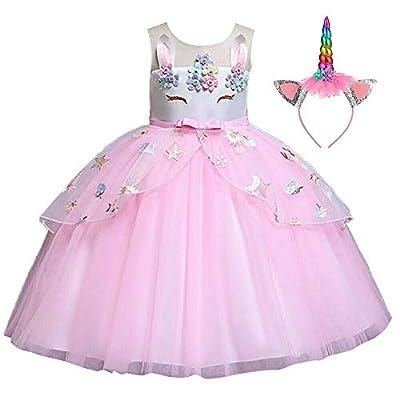 Disfraz de unicornio con diadema para niñas de 3 a 10 años de edad