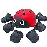 kufun ヘルメット こども用 自転車 子供用ヘルメット 軽量 スケートボード インラインスケート てんとう虫 サイクリング ヘルメット 高剛性 ローラースケート スクーター 幼児 (レッドセット1, S)
