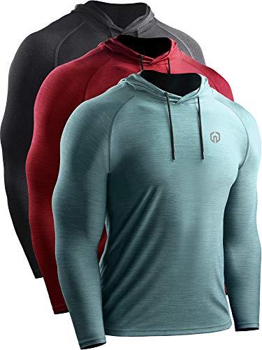 Neleus Men's 3 Pack Dry Fit Running Shirt Long Sleeve Workout Athletic Shirts with Hoods,5071 Dark Grey,Red,Light Green,US 2XL,EU 3XL