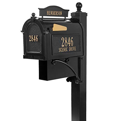 Whitehall Ultimate Custom Capitol Mailbox - Sand Cast Aluminum Side Mount Mail Box with Post, Newspaper Box - Black Personalized in Goldtone