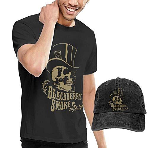 AYYUCY Herren Kurzarmshirt Men's T-Shirt and Hats Black Berry Smoke Fashion Sport Casual Tee and Baseball Cap