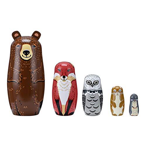 Bambola russa per nidificazione matrioska, gioco educativo carinissimo animale, bambola russa matroschka dipinta a mano, giocattolo per la decorazione della casa, 5 pezzi