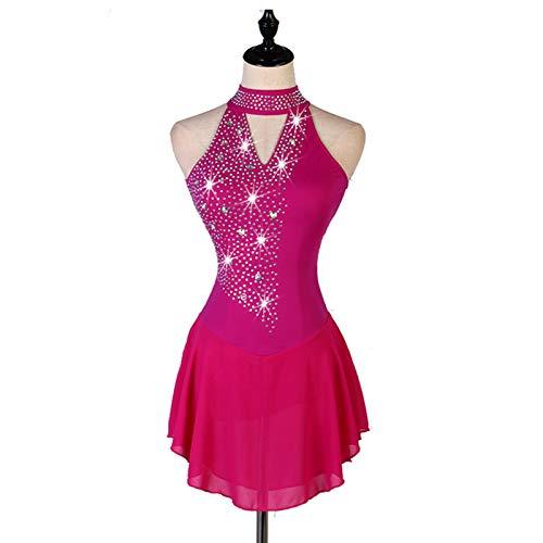 YXHUI Eiskunstlauf Kleid Frauen Mädchen Eislaufen Kleid Figureskates Gymnastik Kostüm Strass,Rosered-S
