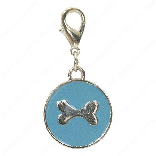 Technocoppe medaillon met gravure van verchroomd metaal en lichtblauwe nagellak met bedelhaak.