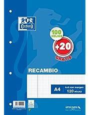 Hojas cuadriculadas A4 Recambio Oxford. 100+20 hojas. Cuadrícula 4x4.