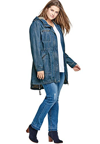 ellos Women's Plus Size Hooded Anorak Denim Jacket - 18, Medium Stonewash