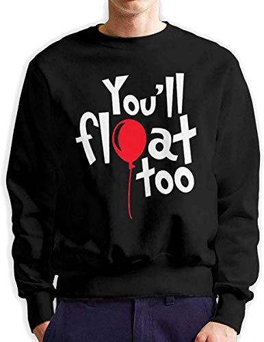 Men's You'Ll Float Too Fashionable Casual Style Crew Neck Cotton Sweatshirt Hoodie,Black,XXX-Large