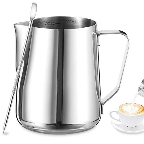 Tonsooze Lattiera brocca da latte, Acciaio inossidabile tazza di latte 350ml in Acciaio Inox con Misurazione della Temperatura e Latte Art Penna, lattiera perfetto per cappuccino