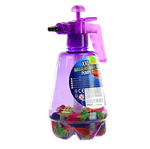 Cepewa 1 x Wasserbomben-Pumpe XXL m. 100 Wasserbomben Ballons Latex Höhe 29 cm, Kinder, Spielzeug, Sommer (lila)