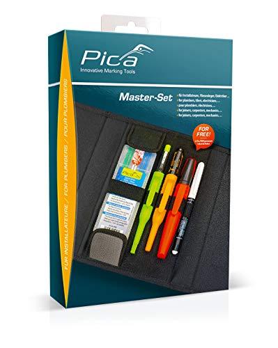 Pica 55020 Markierstift Set für Installateur, Zimmermannsbleistift - für Stein, Metall, Reifen, Glas uvm. – mit Tasche
