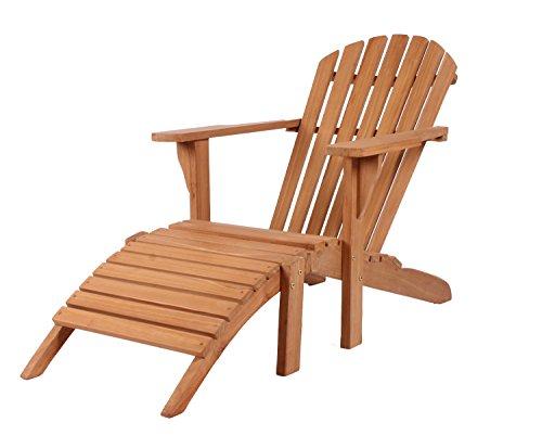 Mr. Deko Sonnenliege Adirondack Montreal - Gartenliege aus Teak Holz - wetterfest & langlebig - Deckchair für Garten, Balkon & Sauna - Luxus Holzliege mit Abnehmbarer Fußstütze - Wellnessliege